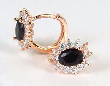 Women's 18 Carat Rose Gold Plated Black Zircon Huggie Earrings Jewellery