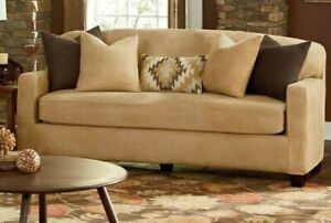 NEW Sure fit Stretch vegan Leather 2 piece loveseat Slipcover camel tan