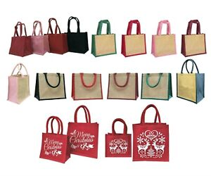 Jute shopping lunch bag gift bag red green blue pink black handle and sides lot