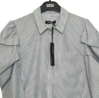 M&S Marks Blue Mix Autograph Stripe Puff Sleeve Cotton Top Blouse Shirt s8 BNWT