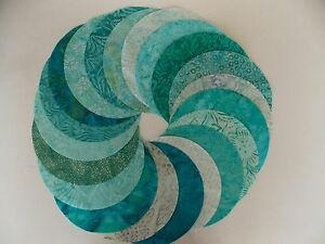 """Teal Batik Fabric 30 Piece Pack 8"""" Circles Quilt Shop Quality Cotton"""