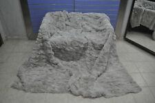 Natural Cream White Rex Fur Throw Fur Bedspread / Blanket King Size Rug