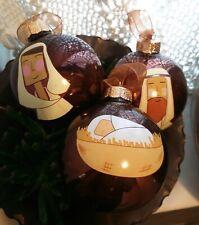 Glass Christmas Baubles Mary, Joseph, Jesus Nativity Set Hanging Xmas Tree