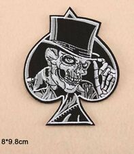 1x Skull Spade Poker Gangster Embroidered Iron On Sew On Patch DIY