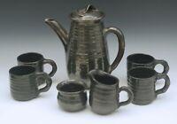 ROWANTREES POTTERY VINTAGE 7 PIECE COFFEE/ TEA SET POT 4 CUPS BLACK LUSTER GLAZE