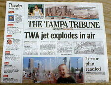 1996 AIRLINE DISASTER newspaper TWA flight 800 EXPLODES ovr LONG ISLAND New York