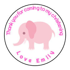 Personalised Girl Pink Elephant Christening Stickers Thank you Sweet Cones Gift