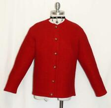 RED-Boiled WOOL Women GERMAN Winter WARM Cardigan Dress Walk Sweater JACKET 10 M