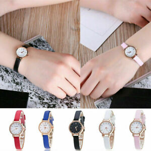 Women's Small Cute Watch Leather Stainless Steel Analog Electronic Wrist Watch