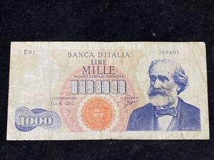 Banconota Italia 1000 Lire Giuseppe Verdi Primo Tipo Decreto 14 Luglio 1962