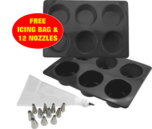 Silicone Muffin Mould 2PK 6 Hole Cup Cake Molds EXTRA DEEP Yorkshire Pudding