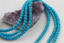 "16"" Howlite Turquoise Loose Beads Round 6mm SLEEPING BEAUTY BLUE *FREE SHIPPING"