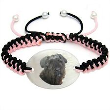 Bouvier Des Flandres Mother Of Pearl Shell Adjustable Knot Bracelet Bs159