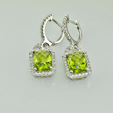5.40 CT. PERIDOT 1.00 CT. HALO DIAMOND DANGLE HUGGIES EARRINGS 14K WHITE GOLD
