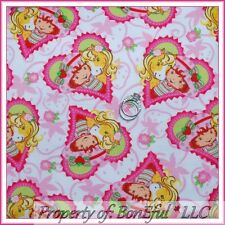 BonEful Fabric FQ Cotton Flannel Pink Strawberry Shortcake Doll Heart Horse Pony