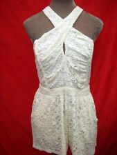 Cute Halterneck peep hole Bust Cream Lace Playsuit Romper All in 1 shorts S/M/L