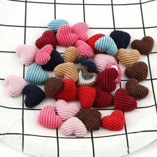 20pcs Cabochon Button Corduroy Fabric Covered Heart Flatback Decoration 15x20mm