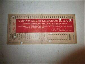 VINTAGE CORNWALL & LEBANON RR CO. PA CONDUCTORS RECEIPT TICKET 1910 RAILROAD