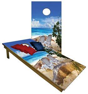 CORNHOLE BEANBAG TOSS GAME w Bags Game Boards Beach Sand Sun Ocean Set
