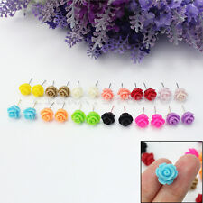 12 Pairs Women Girls Delicate Charming Resin Rose Flower Jewellery Stud Earrings