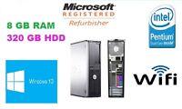 FAST Dell Optiplex Dual Core PC Computer Desktop 8 GB 320 GB HDD WINDOWS 10 Wifi