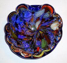Vintage Murano Tutti Frutti Cobalt Blue AVEM Glass Bowl Silver Copper Inclusions