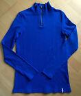 ESPRIT EDC Geripptes Damen Langarm-Tshirt Longleeve blau mit Zipper wie neu GR.M