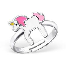 Childrens Girls 925 Sterling Silver Pink Unicorn Horse Ring Adjustable Boxed W16