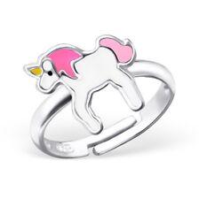 bébés filles 925 argent sterling Rose Unicorn Cheval Bague réglable en boîte W16