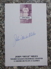 "VINTAGE JOHN ""MULE"" MILES AUTO SIGNED CARD CHICAGO AMERICAN GIANTS NEGRO LEAGUE"