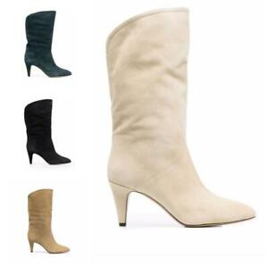 Women Suede Fabric Pull On Round Toe High Heel Cowboy Western Mid-calf Boots L