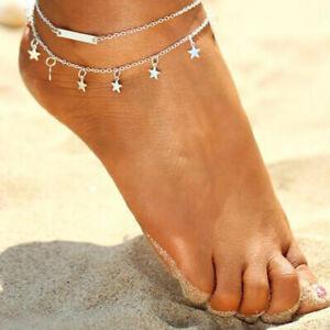 Women Ankle Bracelet 925 Sterling Silver PLT Anklet Foot Chain Boho Beach Stars