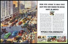 1936 Republic Steel crowded big city street color art vintage print ad