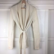 Elie Tahari Women's Ivory Open Belted Cardigan Sweater 100% Wool Soft Size S