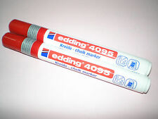 2x Edding 4095 window marker rot 2-3 mm Kreidemarker chalk f. Fenster NEU