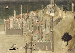 Kunstpostkarte  -  Ambrogio Lorenzetti: Die Stadt am Meer