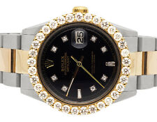18K Rolex Datejust 2 Tone 36MM Stainless Steel Oyster Prong Diamond Watch 5.6 Ct