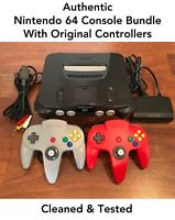N64 Nintendo 64 Console with Original Controllers - Cleaned & Tested - Authentic