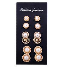 Lady Fashion Imitation Pearl Earrings 6Pairs Mixed Ear Stud Jewelry Wholesale