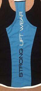 NEW Strong Liftwear Meshtech TBack Singlet Blue 2 CoolTech Cotton Size Large