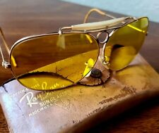 Vintage Ray Ban Bausch & Lomb Amber Bullet Hole Shooters Glasses 12K Gf