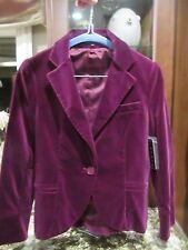 $425 Theory Dark Magenta Pink Purple VELVET Blazer Jacket 0 Extra Small NWT!!!