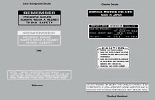 HONDA Z50  1972 WARNING LABEL DECAL SET K3  REPRO Z50A Soft Tail Z50J