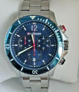Wenger Seaforce Chronograph Quartz Blue Dial Steel Bracelet 01.0643.111 BOXED