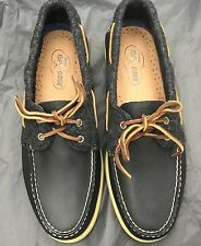 Sperry Topsider Lana Nero/barca in pelle/Deck Scarpa. Taglia UK. 10