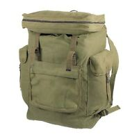 Cotton Canvas Rucksack Heavy Duty Pocket Lid Top Loading Hiking Backpack Hunting