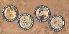 Graphic45 ENCHANTED FOREST #405 Antq Silver Flat Bottle Cap Accents FAIRYTALE