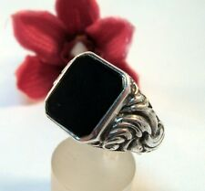 alter Onyx Siegelring 800 Silber Fingerring Ring Onyxring / bl 665