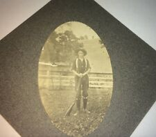 Rare Antique Western American Farmer / Rancher with Rifle! Outdoor Cabinet Photo