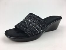 A2 by Aerosoles Women's Say Yes Black Sparkle Wedge Sandals Size 6M
